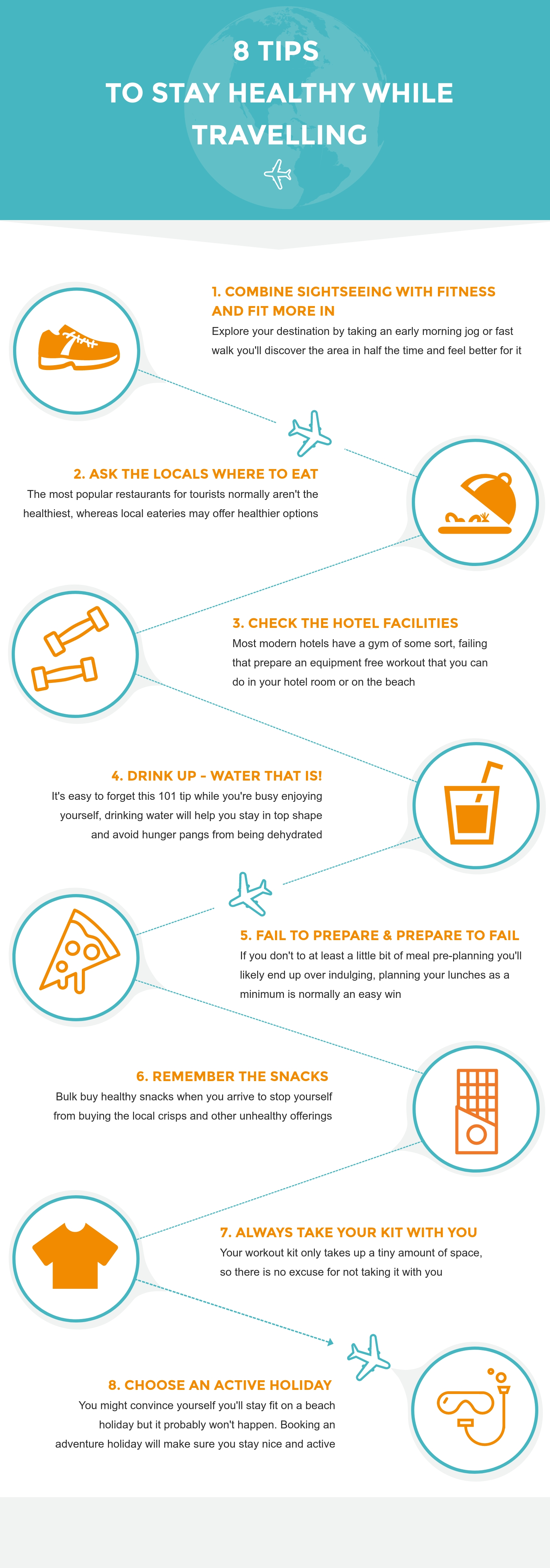 stay healthy while travelling tips infographic
